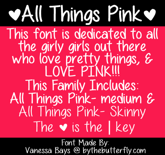 All Things Pink font.