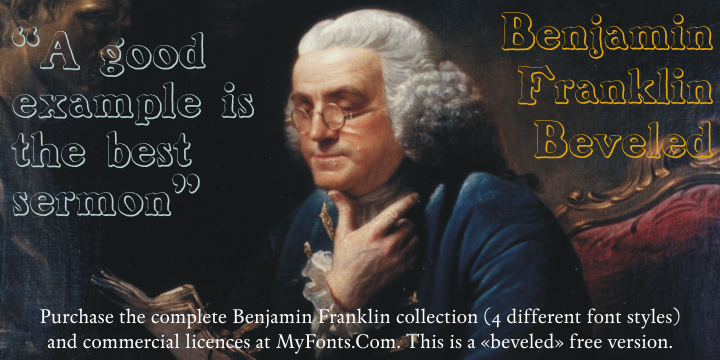 Benjamin Franklin Beveled font.