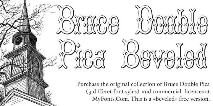Bruce Double Pica Beveled font.