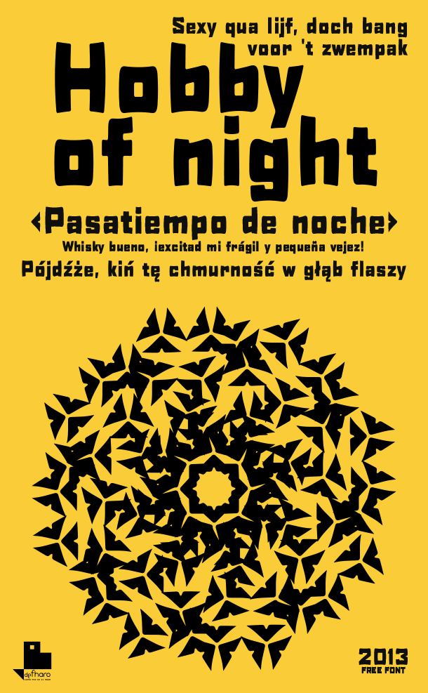 Hobby of night font.