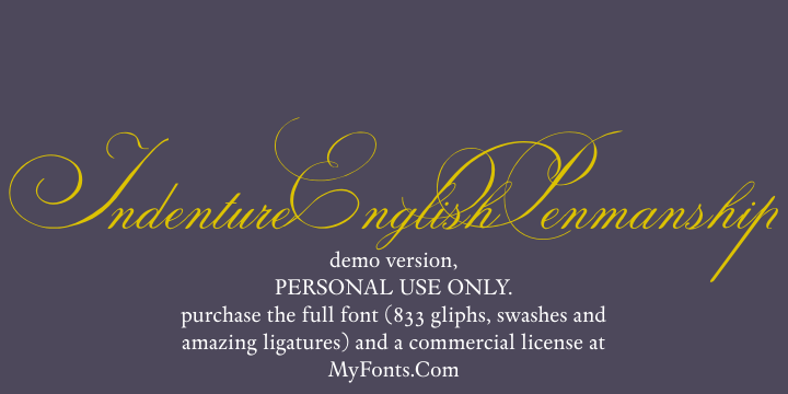 Indenture English Penman font.