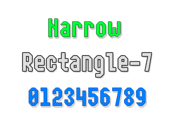 Narrow Rectangle-7 font.