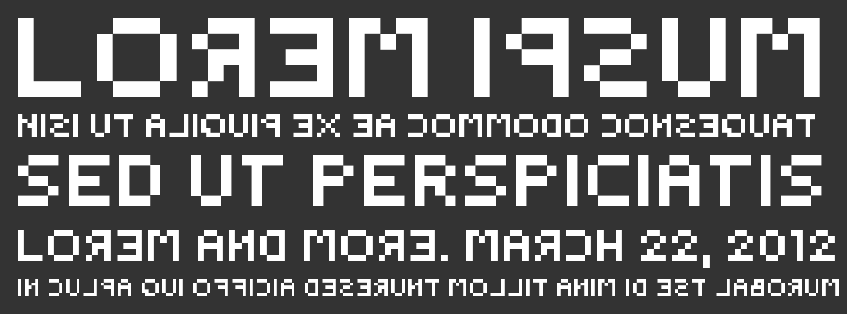 Backwards Pixelized font