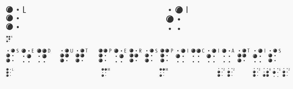 BrailleLatin, Regular