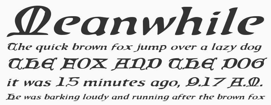 Queen & Country Expanded Italic, Expanded Italic