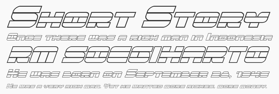 Quicken Outline Italic, Italic