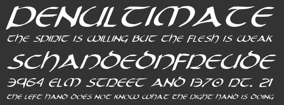 Tristram Expanded Italic, Expanded Italic