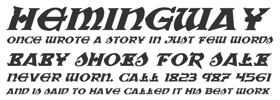 War Priest Expanded Italic, Expanded Italic
